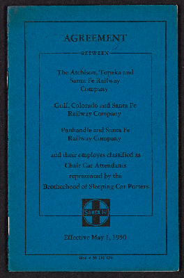 Agreement between the Atchison, Topeka and Santa Fe Railway Company Gulf, Colorado, and Santa Fe Railway Company Panhandle and Santa Fe Railway Company and their employes classified as chair car attendants represented by the Brotherhood of Sleeping Car Porters