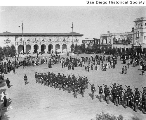 U.S. Marines on parade in the Plaza de Panama during the 1915 Exposition