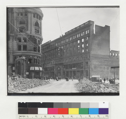 [View down Eddy St., toward Market St. Flood Building, corner of Powell St., left; Emporium, center.]