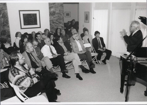 Composer György Ligeti lecturing at a Musicale