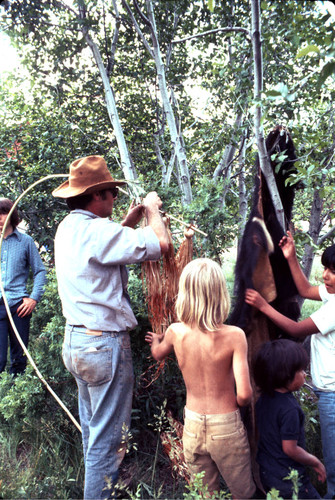 Unidentified man preparing the bearskin and the maple bark flag at the Janesville Bear Dance--1977