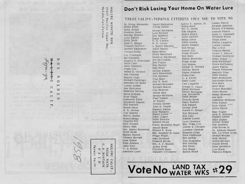 "Electioneering flier urging voters to vote ""NO"" in the September 15, 1959 election to establish a Los Angeles Waterworks District no. 29"