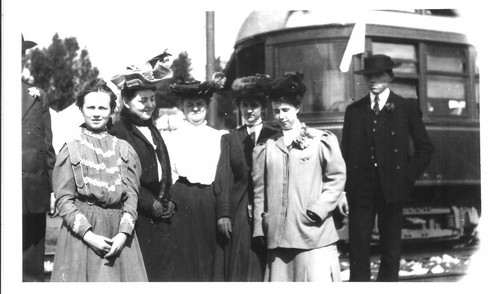 McNear family and officials at the opening of the Petaluma and Santa Rosa (P&SR) in Forestville, circa 1905