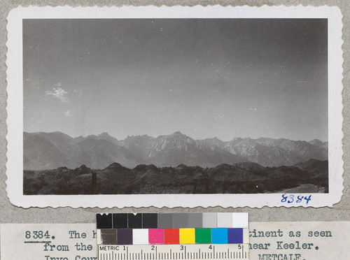 The highest points on the continent as seen from the upper end of Owens Lake near Keeler. Inyo County. 1946. Metcalf