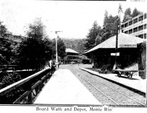 Board walk and depot, Monte Rio, from postcard booklet of Monte Rio on the Russian River, California, circa 1900s