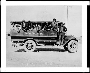 Students on first Antelope Valley Union High School bus, which ran between Palmdale and Lancaster, ca.1909