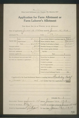 """Application for Farm Allotment or Farm Laborer's Allotment"""