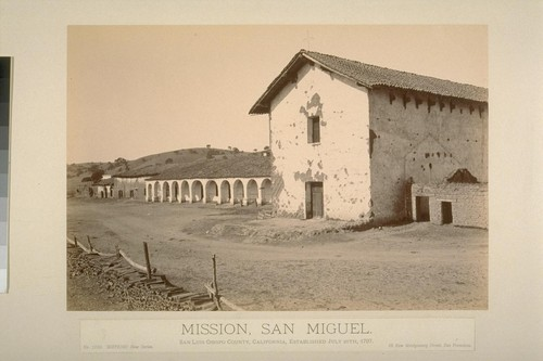 Mission, San Miguel. San Luis Obispo County, California, established July 25th, 1797