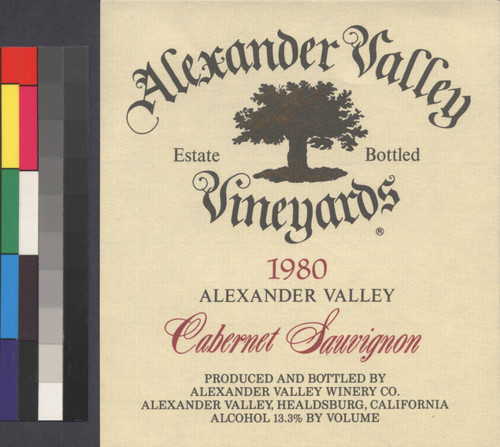 Alexander Valley cabernet : estate bottled, 1980 : Alcohol 13.3% by volume