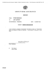 Group Risk Assurance[Memo from Jeff Jeffery to Peter Redshaw regarding seized Dorchester 200200806]