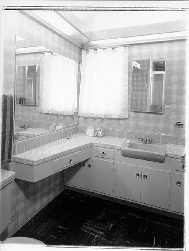 Bathroom in Saint Francis Acres model home, Santa Rosa, California, 1958