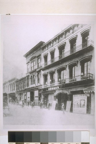 Maguire's Opera House. North side of Washington between Montgomery and Kearny. Gas lights. Ca. 1865