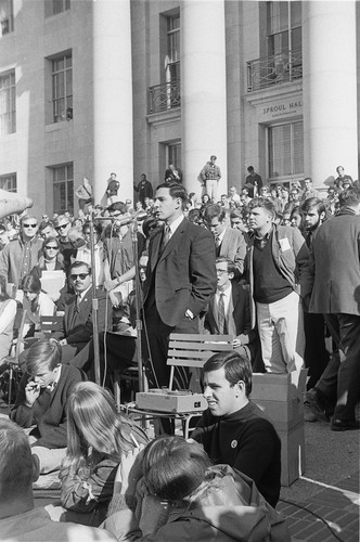 Speaker in front of Sproul Hall