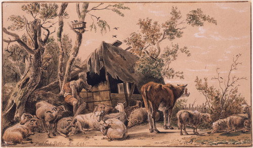 A Shepherd with his Flock by a Log House