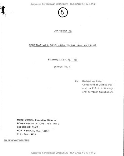 Herbert A. Cohen report Negotiating a Conclusion to the Iranian Crisis