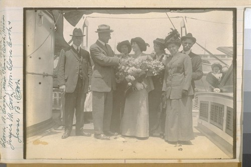 L to R: H. Cook, W.L. Cook, Mrs. Clara A. Cook, Miss Pearl Cook, Miss Jessie M. Cook, Mrs. Clara Cook, and Jesse B. Cook