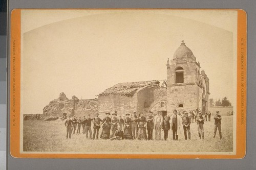 [Group standing near ruins of old San Carlos mission, Carmel: occasion of the opening of grave of Father Junipero Serra. July 3, 1882. (Not stereographic)]