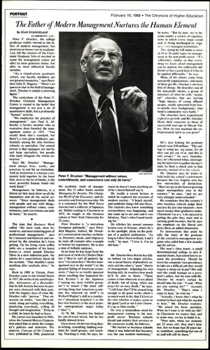 Article on Peter F. Drucker's career in management