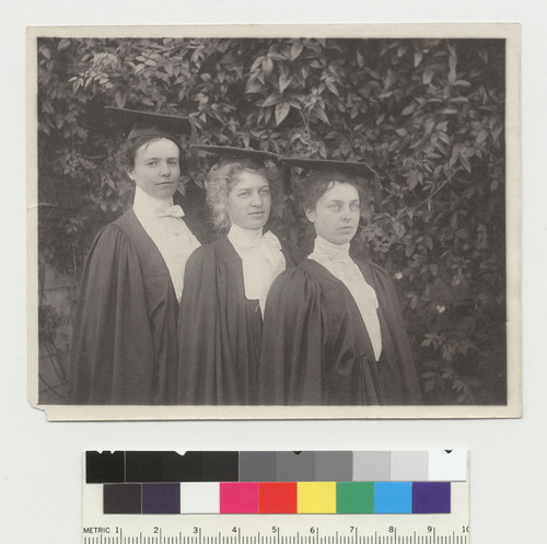 Group portrait of 3 women in caps and gowns, University of California at Berkeley. [photographic print]