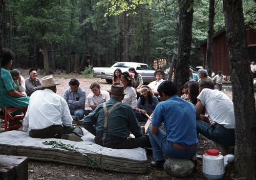 Group gathered for grass game at the Greenville Bear Dance--1973