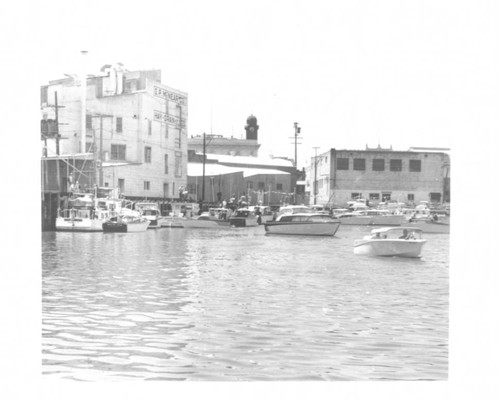 Motor boats on the Petaluma River near G. P. McNear Co., Petaluma, California, summer 1960
