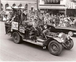 Stumptown Daze 'float' of the 1917 La France fire engine in Santa Rosa Rose Parade circa 1957
