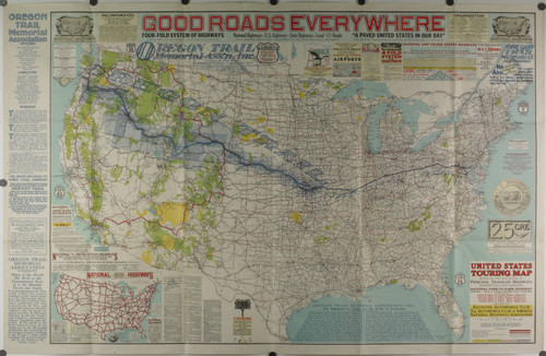 Calisphere: United States touring map showing 250,000 miles ...