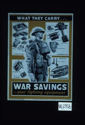 What they carry ... War savings, your fighting equipment