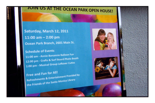 Poster, Ocean Park Branch Library Open House, 2601 Main Street, Santa Monica, Calif., March 12, 2011