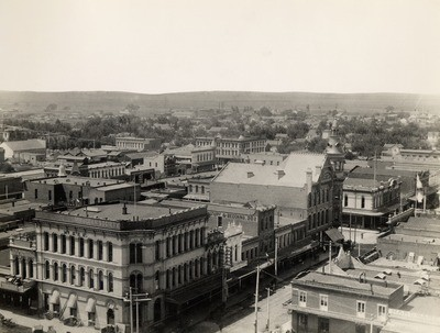Stockton - Streets - circa 1890s: Main St. looking southwest from Court House