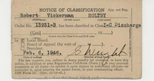 Calisphere Selective Service System Notice Of Classification Card
