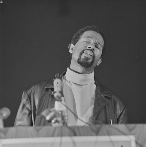 Eldridge Cleaver, Minister of Information, speaking at Free Huey Rally, Manzanita Center, Marin City, CA, #113 from A Photographic Essay on The Black Panthers