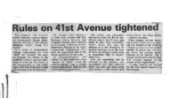 Rules on 41st Avenue tightened