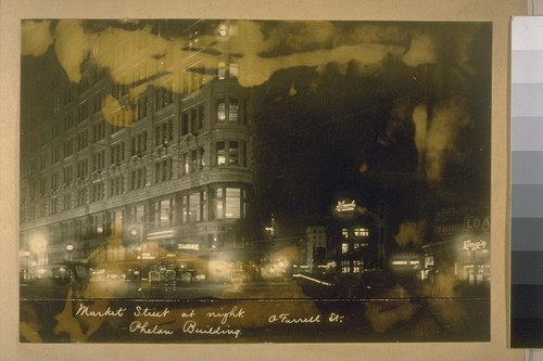 Market Street at night. Phelan Building. O'Farrell St
