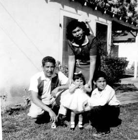 Lopez family at Pacoima home, circa 1955