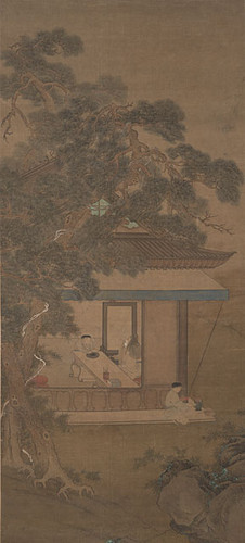 Calisphere: Old Man Painting Screen in House, Boy Servant early 17