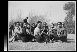 Small gathering of students after Easter worship service at Yenching University, Beijing, China, 1940
