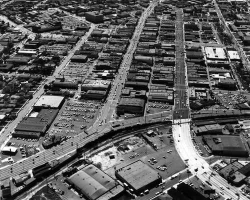 Aerial view of Inglewood, California looking south