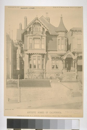"Residence of Mr. R. I. Bowie, 2202 California Street, San Francisco, Cal., Artotype No. 60, with ""S. F. News Letter,"" March 3d, 1888"