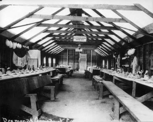 Interior of dining room at Desmondi Camp on Los Angeles Aqueduct