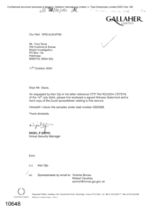 [Letter from Nigel P Espin to Tony Davis regarding hard copy of the Excel spreadsheet relating to seizure]
