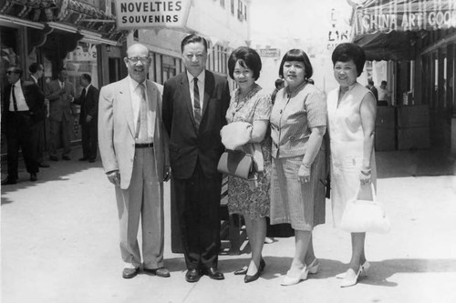 Lily Lum Chan, Mrs. F.K. Louie and friends at Chung King Road in Los Angeles Chinatown