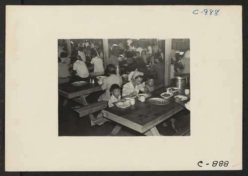 Manzanar, Calif.--Mealtime in one of the mess halls at this War Relocation Authority center for evacuees of Japanese ancestry. Photographer: Lange, Dorothea Manzanar, California