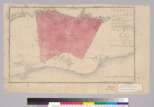 Ex mission lands [Santa Barbara County, Calif.] : belonging to R.S. Den, containing 4 leagues or 17,718 acres / surveyed March 1853 by G. Black, C.E. a[nd] V. Wackenreuder, Co. Surveyor