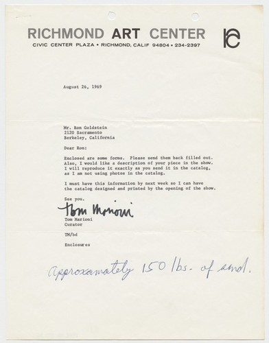 Letter to Tom Marioni from Ron Goldstein (The Return of Abstract Expressionism)