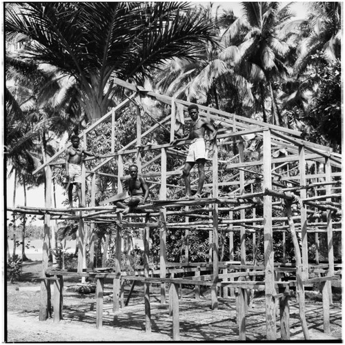 Men during construction of a building