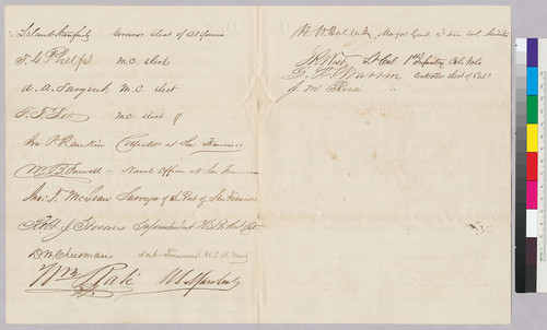 Petition to Abraham Lincoln by San Francisco citizens for appointment of Theodore A. Mudge as Commissary in the US Army