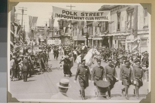 """The Polk Street Open Air Festival."" Page 198. [San Francisco. Jean Hersholt on white horse.]"