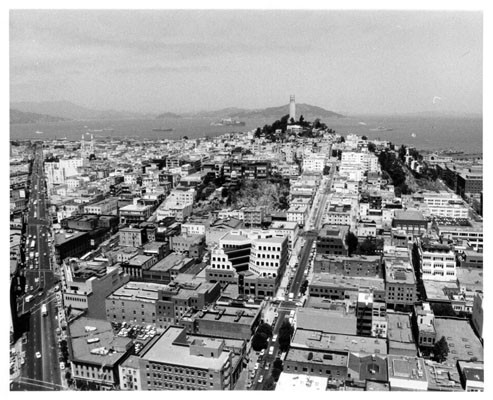 [View from the 27th floor of the Transamerica building, showing Columbus Avenue on left and Telegraph Hill and Coit Tower in right center]
