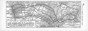 Map showing automobile routes from Los Angeles & Pasadena to Santa Monica, Ocean Park & Venice, 1926